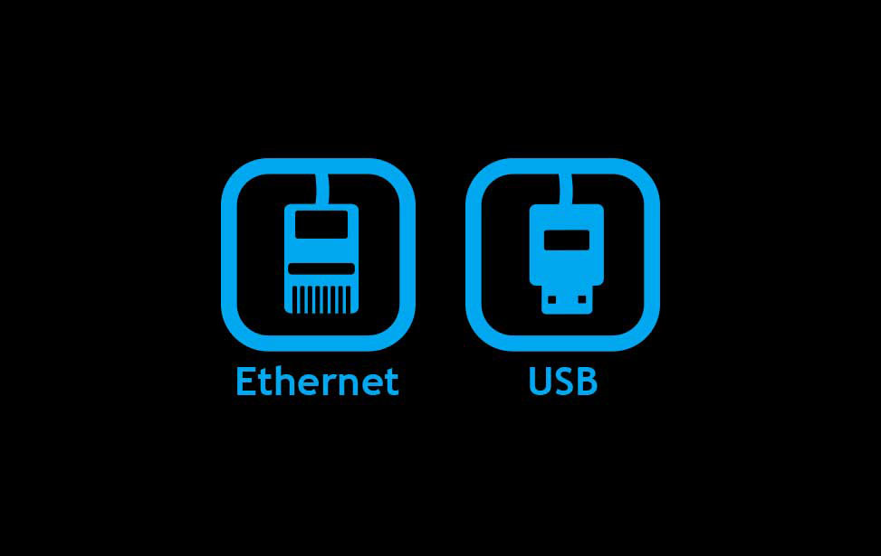 Ethernet, USB, and wireless connections